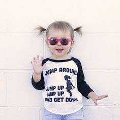 Your little one will be jumping up and down about this awesome 90s tee. Printed on the super soft American Apparel Raglan tee. Machine washable. Please allow