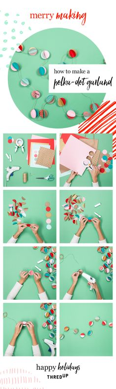 Got leftover cardstock? Looking to decorate your home for the holidays without breaking the bank? Create this beautiful garland with a big hole punch, a hot glue gun, and some twine. It could not be easier! Head to thredUP for more info on this DIY, plus a lot of other affordable DIYs for the season!
