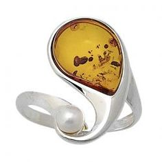 cognac Baltic amber and pear ring