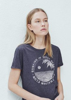 Printed cotton-blend t-shirt - T-shirts for Women | MANGO USA