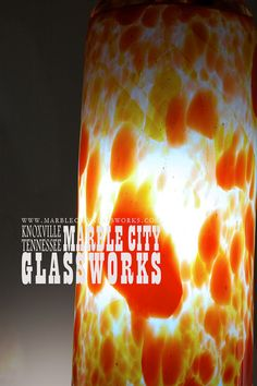 Large Dappled Red Orange Cylinder Pendant by MarbleCityGlassworks