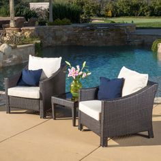 Christopher Knight Home Outdoor Antibes 3-piece Wicker Bistro Set with Cushions | Overstock.com Shopping - The Best Deals on Sofas, Chairs & Sectionals
