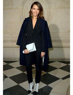 Jessica Alba at a Christian Dior Photocall during Paris Fashion Week, February 2014
