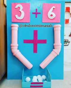 This is such an innovative way to teach math! The children can count out the balls and then at the end count the total. you can change and play with the numbers too! Preschool Learning, Kindergarten Math, Classroom Activities, Toddler Activities, Preschool Activities, Teaching Aids, Teaching Math, Math For Kids, Kids Education
