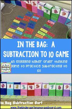 Subtraction: In The Bag Subtraction Activity - Modern Design Subtraction Kindergarten, Kindergarten Smorgasboard, Numbers Kindergarten, Kindergarten Math Activities, Fun Math, Teaching Math, Subtraction Games, Preschool, Teaching Ideas