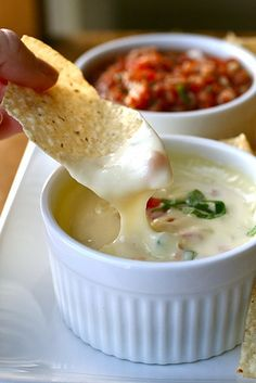 WHITE QUESO DIP....Know the SECRET???... to that white queso dip @ mexican restaurants? White American Cheese. 3 ingredients, one crock pot. It's like the real thing...white American Cheese from the deli, a can of diced jalepenos, and heavy cream. Cook on low until everything is melted.