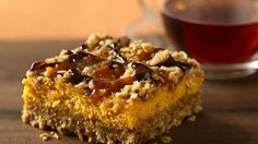 Pumpkin Streusel Cheesecake Bars...... Prize-Winning Recipe 2008! Chocolate and caramel drizzles add a new flavor punch to creamy pumpkin-oat bars.
