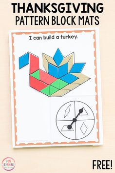 These Thanksgiving pattern block mats put a fun spin on traditional pattern block activities. These would be perfect for math centers in preschool, kindergarten, first grade or second grade. Thanksgiving Activities For Kindergarten, Thanksgiving Preschool, Autumn Activities For Kids, Fall Preschool, Math Activities, Preschool Kindergarten, Math Games, Thanksgiving Prayer, Kindergarten Readiness