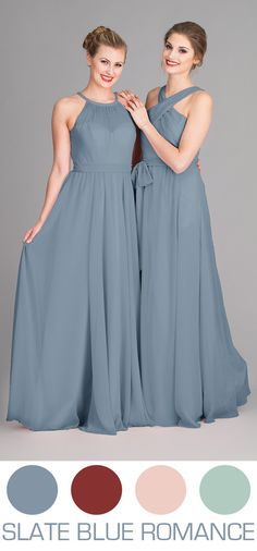 Slate Blue bridesmaid dresses are perfect for your Spring or Summer wedding!