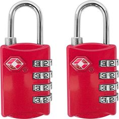 TSA Luggage Locks 2 Pack  4 Digit Combination Steel Padlocks  Approved Travel Lock for Suitcases  Baggage  Red *** Be sure to check out this awesome product.