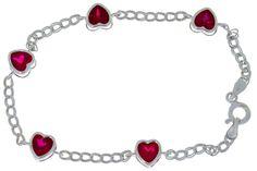 Ruby Heart Bezel Bracelet .925 Sterling Silver by ElizabethJewelryInc on Etsy