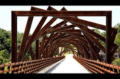 High Trestle Trail Bridge  High Trestle Trail is a rail trail running 25 miles (40 km) from Ankeny, Iowa, to Woodward, Iowa, US. It is a paved recreational trail that runs through the counties of Polk, Story, Boone, and Dallas in Iowa.  photo: Phil Roeder