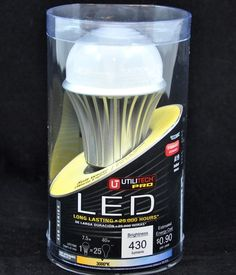"Item #0338802  Instant on to full brightness Up to 90% energy savings A-19 bulb Uses 7.5 watts for 450 lumens of rightness Bulb life is 25000 hours Standard base, most frequently used for general lighting applications Designed for indoor use only 3000 K color temperature, Soft White light Soft White light provides bright directional light for warmer atmosphere; bulb offers full range dimming and are shock proof Dimensions 2.375""D x 2.375""L Generates no UV or IR Rays."
