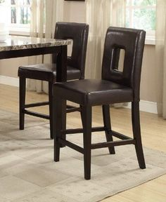 Bar-Stools-Counter-Height-Dark-Brown-Leather