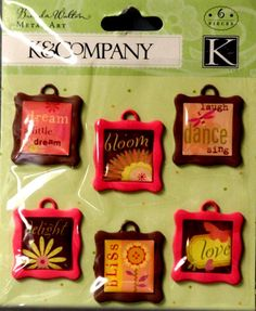 K & Company Brenda Walton BW Neopolitan Words Metal Art Charms Embellishments are available at Scrapbookfare.