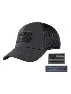 553c8de21fd5 Condor Flex Mesh Cap- Black + Flag & Warrior Patch- Fitted Tactical  Operator Hat - CS185YNE8XA