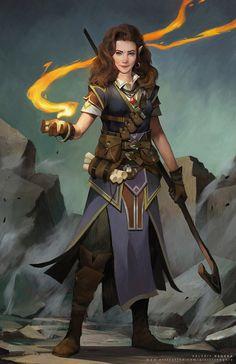 Image result for fantasy female half elf art druid