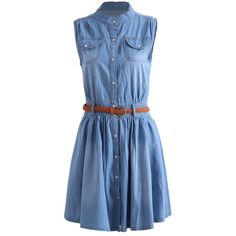 Stand Collar With Pockets Denim Shirt Dress featuring polyvore, fashion, clothing, dresses, vestidos, blue, robes, blue denim dress, shirt dress, long shirt dress, denim dress and blue knee length dress