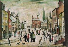 A Lancashire Village by L S Lowry. Massive range of art prints, posters & canvases. Quality UK framing & Money Back Guarantee! English Artists, British Artists, Nostalgic Art, One Stroke Painting, Road Painting, Spencer, Art For Art Sake, Naive Art, Urban Landscape
