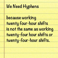 We need hyphens because working twenty four-hour shifts is not the same as working twenty-four hour shifts or twenty-four-hour shifts.
