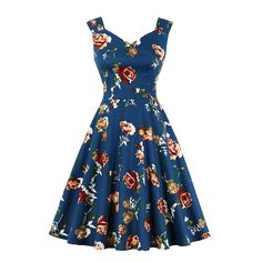 Vintage Dresses Women Sleeveless Floral Rockabilly A Line Dres – MissFoxFashion Vintage Midi Dresses, Elegant Dresses, Vintage Outfits, Rockabilly, Knee Length Dresses, Short Sleeve Dresses, Dresses With Sleeves, Fancy Dress Up, Retro Dress