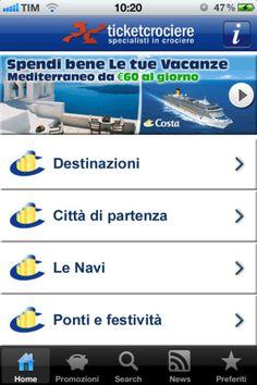 """Scarica la App GRATUITA """"CrocieraCosta"""" per consultare subito tutte le partenze di Costa Crociere. Questa APP ti consente di entrare immediatamente nel mondo delle Crociere Costa: catalogo aggiornato in tempo reale nei prezzi e disponibilità, promozioni e offerte speciali, notizie aggiornate.  http://itunes.apple.com/it/app/crocieracosta-by-ticketcrociere/id516937496?mt=8"""
