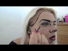 Pop Art Makeup Tutorial by Diana Fake Makeup, Pop Art Makeup, Pop Art Costume, Costume Makeup, Halloween Makeup, Halloween 2014, Halloween Town, Halloween Ideas, Halloween Costumes