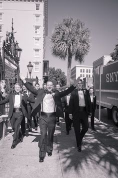 Groomsmen in Black Tuxedos - Pink Mills House Wedding in Charleston, SC by Molly Joseph Photography