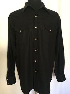 b80a0d6dc36f Pendleton Canyon Mens Large L 100% Virgin Wool Pearl Snap Shirt Black  #Pendleton #