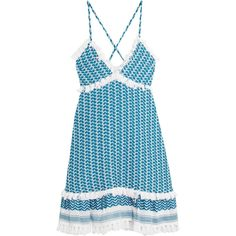 Dodo Bar Or Cotton-gauze dress ($265) ❤ liked on Polyvore featuring dresses, vestidos, blue, cotton dress, gauze dress, blue cotton dress, tassel fringe dress and tassel dress