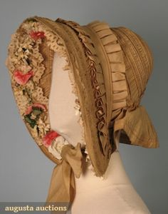 Tan silk bonnet, 1840s.  The pleated trim is a very nice touch!