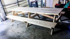 How to DIY Finish an Outdoor Picnic Table by MyOutdoorPlans - Building Our Rez Painting Outdoor Wood Furniture, Old Fence Boards, Outdoor Picnic Tables, Old Fences, Backyard, Patio, Exterior Paint, Outdoor Living, New Homes