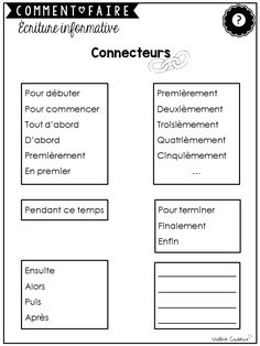 Toute leur vie, les élèves seront amenés à lire des marches à suivre ou encore à en expliquer.  Ce type de texte est normalement apprécié d... French Language Lessons, Grammar Lessons, French Language Learning, Writing Lessons, French Lessons, Teaching Writing, Writing Activities, Teaching French Immersion, High School French