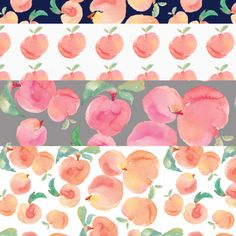 Watercolor Peaches Patterns + Watercolor Peach Clip Art | angiemakes.com