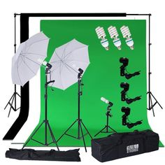 Background Support System, White Umbrella Lighting Photo Video Studio Kit With Chromakey Background Muslins (Green Black White) - Free Carry Case - ChairCoverFactory Photography Lighting Kits, Event Photography, Video Photography, Photography Equipment, Event Lighting, Photo Lighting, Continuous Lighting, White Umbrella, Video Studio