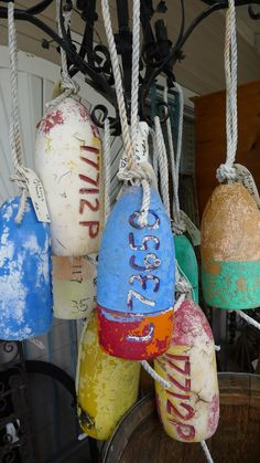 colorful buoys as outdoor accessories, could be indoors if they are clean
