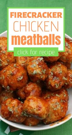 Hot and spicy is where it's at when you bite into these firecracker chicken meatballs - perfect for game day tailgating and party appetizers. Spicy Meatballs, Crock Pot Meatballs, Chicken Meatballs, Jelly Meatballs, Chicken Drumsticks, Chicken Pasta, Chicken Meatball Recipes, Easy Chicken Recipes, Turkey Recipes