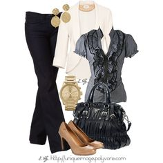 """Ruffled Blouse"" by uniqueimage on Polyvore--Mix of neutral colors, makes pretty."