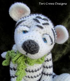 Crochet Pattern White Tiger by Teri Crews Wool and Whims Instant Download PDF Format by TCrewsDesigns on Etsy https://www.etsy.com/listing/130265056/crochet-pattern-white-tiger-by-teri