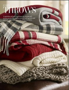 Throws are a great way of dressing up your interior with a Christmas feel without going overboard. Choose patterns such as red and green plaid/tartan print for a traditional look, or soft muted colours like grey and cream for a subtle winter feel. Tartan Plaid, Plaid Scarf, Sweater Scarf, Chenille, Cozy Blankets, Winter Blankets, Winter Scarves, Country Blankets, Black Scarves