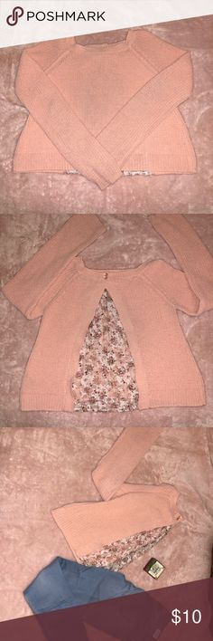 Peach sweater with a lace detail in the back Peach sweater Gently used, 1-3 snags Lots of life left Minor signs of wear Tops