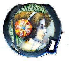Image Copyright RC Larner ~ Brooch--Early 20th C. Jugendstil Enamel Lady on Silver ~  R C Larner Buttons at eBay & Etsy        http://stores.ebay.com/RC-LARNER-BUTTONS and https://www.etsy.com/shop/rclarner and https://www.rubylane.com/shop/rclarner