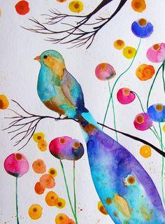 Bird Watercolor Ink Bird Flowers Bird Decor par CelineArtGalerie, €47.00