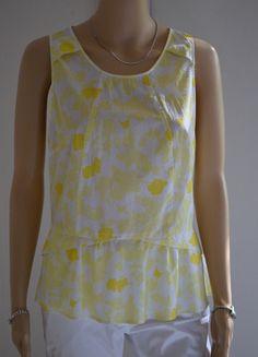 Haut jaune et blanc Chattawak coton printemps été