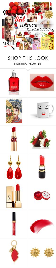 """""""TRUE RED REFLECTIONS"""" by kalenalexis ❤ liked on Polyvore featuring beauty, Poesia, Cacharel, Lime Crime, Yves Saint Laurent, Lulu Guinness, Kosta Boda and NARS Cosmetics"""
