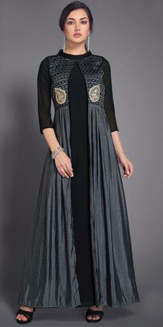 Pretty Black Georgette Kurti.
