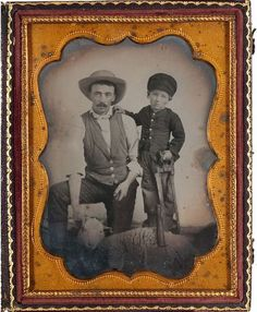 ca. 1860-70's, [ambrotype portrait of a butcher and his son, preparing to slaughter a sheep]. via Cowan's Auctions