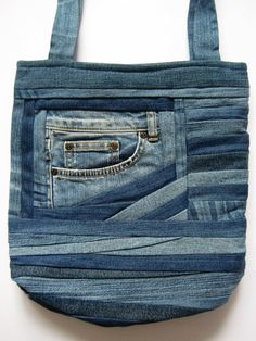 Denim Shoulder Bag Gift Blue Bag Denim by DzintrasPatchworkArt