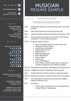 This music resume was written by a professional. Use it to create your own music resume and land more auditions. Resume sample and writing tips inside. Resume Help, Best Resume, Resume Cv, Resume Tips, Resume Writing, Writing Tips, College Resume Template, Resume Templates, Photographer Resume