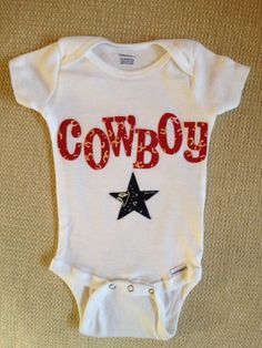 baby boy western cowboy, red white and blue 100% cotton onesie on Etsy, $20.00